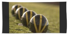 Striped Helmets On Yard Line Beach Towel