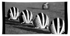 Striped Helmets With Football Beach Towel