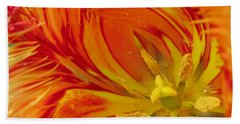 Striped Parrot Tulips. Olympic Flame Beach Sheet by Ausra Huntington nee Paulauskaite