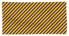 Stripes Diagonal Chocolate Banana Yellow Toffee Cream Beach Towel