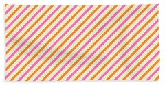 Stripes Diagonal Orange Pink Peach Simple Modern Beach Towel