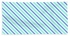Stripes Diagonal Turquoise Blue Summer Simple Modern Beach Towel