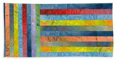 Stripes With Blue And Red Beach Towel by Michelle Calkins