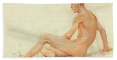 Study Of A Male Nude, Seated, Turning Away To The Right Beach Towel