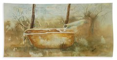 Study Of A Watering Tub Beach Towel by Vicki  Housel