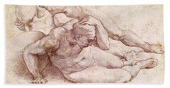 Study Of Three Male Figures Beach Towel