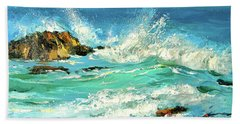 Beach Towel featuring the painting Study Wave by Dmitry Spiros