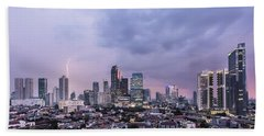 Stunning Sunset Over Jakarta, Indonesia Capital City Beach Sheet