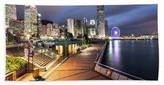 Stunning View Of Hong Kong Central Business District Skyscrapers Beach Sheet