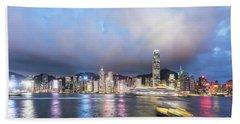 Stunning View Of Hong Kong Island At Night.  Beach Towel