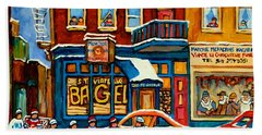 St.viateur Bagel Hockey Montreal Beach Sheet by Carole Spandau