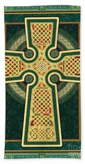 Stylized Celtic Cross In Green Beach Towel