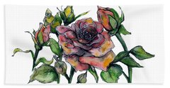 Stylized Roses Beach Towel