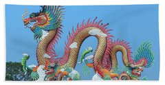 Beach Towel featuring the photograph Suan Sawan Golden Dancing Dragon Dthns0147 by Gerry Gantt