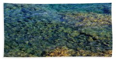 Submerged Rocks At Lake Superior Beach Towel