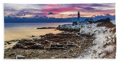 Subtle Sunrise At Portland Head Light Beach Towel