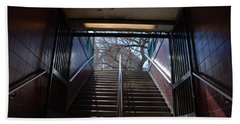 Beach Towel featuring the photograph Subway Stairs To Freedom by Rob Hans