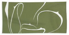 Beach Towel featuring the painting Succulent In Green by Ben Gertsberg