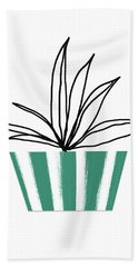 Beach Towel featuring the mixed media Succulent In Green Pot 3- Art By Linda Woods by Linda Woods
