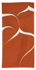 Beach Towel featuring the painting Succulent In Orange by Ben Gertsberg