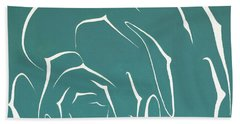 Beach Towel featuring the painting Succulent In Turquoise by Ben Gertsberg