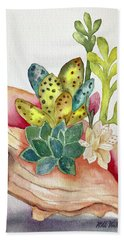 Succulents In Shell Beach Towel