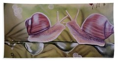 Sue And Sammy Snail Beach Towel by Dianna Lewis