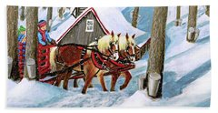 Sugar Bush Sleigh Ride Randonne En Traneau Sucre Beach Towel