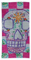 Beach Towel featuring the painting Sugar Skull by Amy Gallagher