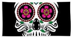 Sugar Skull Floral Skull Beach Towel