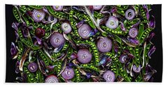 Sugar Snap Peas And Red Onion Mix Beach Towel