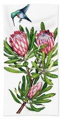 Sugarbush And The Humming Bird Beach Sheet by Heidi Kriel