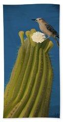 Sugaro Cactus And Cactus Wren Beach Towel by Wally Hampton