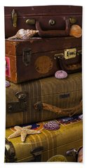 Suitcases With Seashells Beach Towel