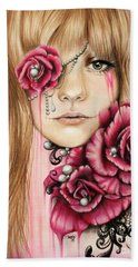 Beach Towel featuring the drawing Sullenly Sweet  by Sheena Pike