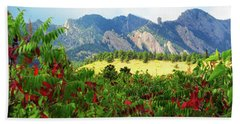Beach Towel featuring the photograph Sumac And Flatirons 2 by Marilyn Hunt