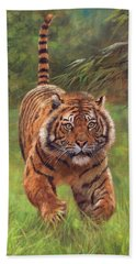 Sumatran Tiger Running Beach Towel