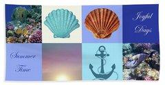 Summer Beach House Collage Beach Sheet