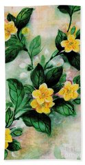 Beach Towel featuring the painting Summer Blooms by Writermore Arts
