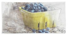 Beach Towel featuring the digital art Summer Blueberries by Sue Collura