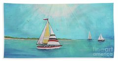 Beach Towel featuring the painting Summer Breeze-b by Jean Plout