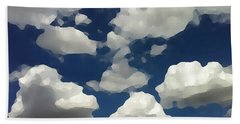 Beach Towel featuring the digital art Summer Clouds In A Blue Sky by Shelli Fitzpatrick