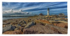 Summer Day At Scituate Lighthouse Beach Towel