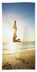 Summer Fitness Girl Beach Sheet