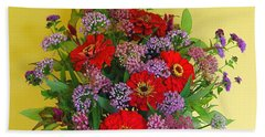 Beach Towel featuring the photograph Summer Flower Bouquet by Byron Varvarigos