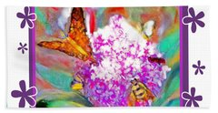 Summer Flower Feeding Frenzy Beach Towel by Shirley Moravec