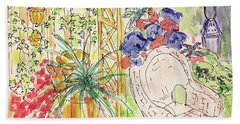 Beach Towel featuring the drawing Summer Garden by Barbara Anna Knauf