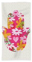 Summer Garden Hamsa- Art By Linda Woods Beach Towel
