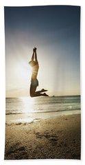 Summer Girl Summer Jump  Beach Sheet by Amyn Nasser