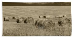 Summer Harvest Field With Hay Bales In Sepia Beach Sheet